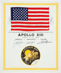 Explorers:Space Exploration, Apollo 13 Flown American Flag on a Crew-Signed Certificate,Directly from the Personal Collection of Mission Commander JamesL...