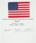 Explorers:Space Exploration, Apollo 8 Flown American Flag on a Crew-Signed Certificate Directly from the Personal Collection of Mission Command Module Pilo...
