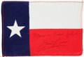 Explorers, Apollo 13 Flown Texas State Flag Directly from the PersonalCollection of Mission Commander James Lovell, Signed andCertified...