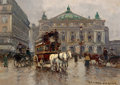Fine Art - Painting, European:Other , EDOUARD-LÉON CORTÈS (French, 1882-1969). Paris, Avenue deL'Opera le Jour. Oil on canvas. 13 x 18 inches (33.0 x 45.7cm...
