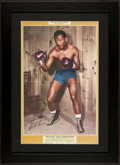 """Boxing Collectibles:Autographs, Sugar Ray Robinson Signed """"Pin Up Series"""" Poster...."""