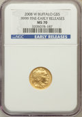 Modern Bullion Coins, 2008-W $5 Tenth-Ounce Gold Buffalo, Early Releases MS70 NGC. .9999Fine. NGC Census: (0). PCGS Population (432). (#399927...