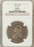 Bust Half Dollars: , 1833 50C VG10 NGC. O-101. NGC Census: (3/1306). PCGS Population(4/1477). Mintage: 5,206,000. Numismedia Wsl. Price for pro...