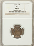 Bust Dimes, 1831 10C VF35 NGC. JR-1. NGC Census: (7/271). PCGS Population(9/274). Mintage: 771,350. Numismedia Wsl. Price for problem ...