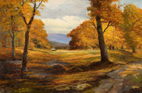 ROBERT WILLIAM WOOD (American, 1889-1979) Autumn Hues Oil on canvas 24 x 36 inches (61.0 x 91.4 c