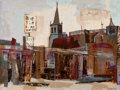 Texas:Early Texas Art - Modernists, CECIL LANG CASEBIER (1922-1996). Modern Street Scene. Oil onmasonite. 30 x 40 inches (76.2 x 101.6 cm). Signed lower ri...