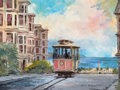 Texas, WILLIAM A. SLAUGHTER (American, 1923-2003). View of SanFrancisco From Cable Car. Oil on canvas. 12 x 16 inches (30.5 x...