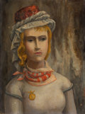Paintings, BROR ALEXANDER UTTER (American, 1913-1993). Portrait of a Girl. Oil on canvas board. 16 x 12 inches (40.6 x 30.5 cm). Si...