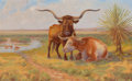 Texas:Early Texas Art - Regionalists, HARVEY WALLACE CAYLOR (American, 1867-1932). Oxen on thePasture. Oil on canvas. 10 x 16 inches (25.4 x 40.6 cm).Signed...
