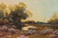 A.D. GREER (American, 1904-1998) Sunset Reflections, 1962 Oil on canvas 24 x 36 inches (61.0 x 91