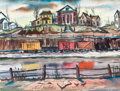 Texas:Early Texas Art - Modernists, BILL FRANCIS (American, 1929-2000). By the Tracks. Watercolor on paper. 21 x 27-1/2 inches (53.3 x 69.9 cm). Signed lowe...