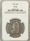 Bust Half Dollars: , 1834 50C Large Date, Large Letters VF30 NGC. NGC Census: (55/2022).PCGS Population (22/958). Mintage: 6,412,004. Numismedi...