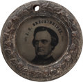 Political:Ferrotypes / Photo Badges (pre-1896), John C. Breckinridge: Ferrotype Doughnut....