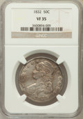 Bust Half Dollars: , 1832 50C Small Letters VF35 NGC. NGC Census: (42/1750). PCGSPopulation (99/1807). Mintage: 4,797,000. Numismedia Wsl. Pric...