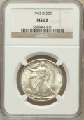 Walking Liberty Half Dollars: , 1947-D 50C MS62 NGC. NGC Census: (54/7527). PCGS Population (121/11476). Mintage: 3,900,600. Numismedia Wsl. Price for prob...