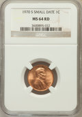 Lincoln Cents: , 1970-S 1C Small Date MS64 Red NGC. NGC Census: (224/301). PCGSPopulation (779/757). Mintage: 693,192,832. Numismedia Wsl. ...