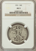 Walking Liberty Half Dollars: , 1921 50C AG3 NGC. NGC Census: (0/754). PCGS Population (57/1303).Mintage: 246,000. Numismedia Wsl. Price for problem free ...