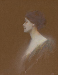 THOMAS WILMER DEWING (American, 1851-1938) Portrait of a Woman Pastel on paperboard 14-3/8 x 11-1