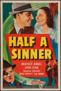 "Movie Posters:Crime, Half a Sinner (Universal, 1940). One Sheet (27"" X 41""). Crime.. ..."