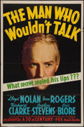 "Movie Posters:Crime, The Man Who Wouldn't Talk (20th Century Fox, 1940). One Sheet (27""X 41""). Crime.. ..."