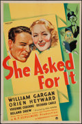 "Movie Posters:Crime, She Asked for It (Paramount, 1937). One Sheet (27"" X 41""). Crime....."