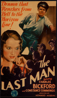 "The Last Man (Columbia, 1932). Trimmed Midget Window Card (6.6"" X 11.5""). Mystery"