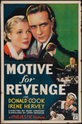 "Movie Posters:Crime, Motive for Revenge (Majestic, 1935). One Sheet (27"" X 41""). Crime.. ..."
