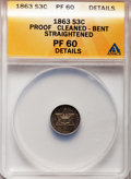 Proof Three Cent Silver, 1863 3CS -- Bent, Cleaned, Straightened -- ANACS. PR60 Details. NGCCensus: (1/111). PCGS Population (2/158). Mintage: 460....