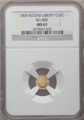 California Fractional Gold: , 1868 25C Liberty Round 25 Cents, BG-806, R.3, MS63 NGC. NGC Census:(6/37). PCGS Population (22/123). (#10667)...
