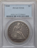 Seated Dollars: , 1840 $1 VF30 PCGS. PCGS Population (14/265). NGC Census: (5/215).Mintage: 61,005. Numismedia Wsl. Price for problem free N...