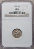 Three Cent Nickels: , 1879 3CN MS62 NGC. NGC Census: (6/107). PCGS Population (9/118).Mintage: 38,000. Numismedia Wsl. Price for problem free NG...