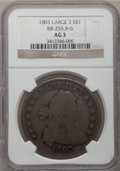 Early Dollars: , 1803 $1 Large 3 AG3 NGC. BB-255, B-6. PCGS Population (0/269).(#6901)...