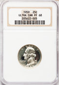 Proof Washington Quarters: , 1959 25C PR68 Ultra Cameo NGC. NGC Census: (23/6). PCGS Population(38/0). Numismedia Wsl. Price for problem free NGC/PCGS...