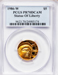 Modern Issues: , 1986-W G$5 Statue of Liberty Gold Five Dollar PR70 Deep Cameo PCGS.PCGS Population (606). NGC Census: (1). Mintage: 404,01...