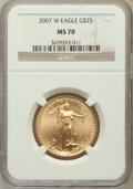 Modern Bullion Coins, 2007-W $25 Half-Ounce Gold Eagle MS70 NGC. NGC Census: (2282). PCGSPopulation (506). Numismedia Wsl. Price for problem fr...