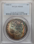 1880-S $1 MS66 PCGS. PCGS Population: (11161/2598). NGC Census: (11831/3546). MS66. Mintage 8,900,000