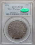 Bust Half Dollars, 1824 50C Over Various Dates XF45 PCGS. CAC. PCGS Population(13/79). NGC Census: (10/53). Numismedia Wsl. Price for proble...