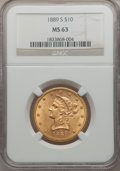 Liberty Eagles: , 1889-S $10 MS63 NGC. NGC Census: (99/8). PCGS Population (228/20).Mintage: 425,400. Numismedia Wsl. Price for problem free...