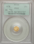 California Fractional Gold: , 1870 25C Liberty Octagonal 25 Cents, BG-759, R.4, MS62 PCGS. PCGSPopulation (21/35). NGC Census: (3/2). (#10586)...