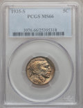 Buffalo Nickels: , 1935-S 5C MS66 PCGS. PCGS Population (396/28). NGC Census:(124/11). Mintage: 10,300,000. Numismedia Wsl. Price for problem...