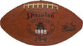 Football Collectibles:Balls, 1965 Oakland Raiders Team Signed Leather AFL Game Football....