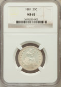 Seated Quarters, 1881 25C MS63 NGC....