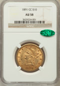 Liberty Eagles, 1891-CC $10 AU58 NGC. CAC. Variety 2-B....