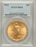 Saint-Gaudens Double Eagles: , 1914 $20 MS64 PCGS. PCGS Population (440/38). NGC Census: (335/24).Mintage: 95,200. Numismedia Wsl. Price for problem free...