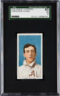 1909-11 T206 Sweet Caporal Eddie Plank SGC 60 EX 5 -Pop One, Only Two Higher!