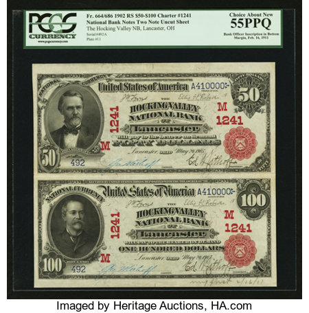 Lancaster, OH - $50/100 1902 Red Seals Fr. 664/686 The Hocking Valley NB Ch. # (M)1241 Uncut Sheet ...