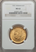 Indian Eagles, 1907 $10 No Periods MS62 NGC....