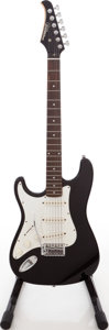 Musical Instruments:Electric Guitars, 1980s Silvertone Strat Copy Black Left Handed Solid Body ElectricGuitar. ...