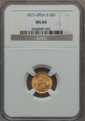 Gold Dollars, 1873 G$1 Open 3 MS64 NGC....