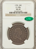 Early Half Dollars, 1795 50C 2 Leaves VG10 NGC. CAC. O-108a, R.4....